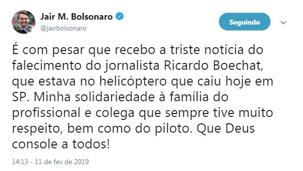 Bolsonaro lamenta morte de Boechat