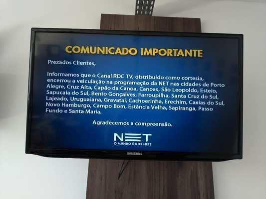 RDC TV não opera mais na NET. Comunicado foi exibido aos clientes que tentaram assistir ao canal nesta quinta-feira; do Coletiva.net